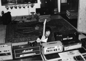 Me & trusty #5 at Excello Studios, part of the 7 guitar amp line-up used on every track. I think we stuck with the Park, mostly. The Tele proved too noisy and we wound up using my Firebird on nearly every track - that guitar recorded beautifully!